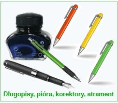 Długopisy, pióra, korektory, atrament